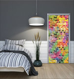 Graffiti - Colourful Bricks Deurposter Fotobehang 3469VET_