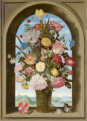 Mauritshuis Ambrosius Bosschaert de Oude, Vaas met bloemen in een venster 1618 MH6 (Met Gratis Lijm)