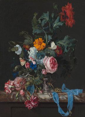 Mauritshuis Willem van Aelst, Bloemstilleven met horloge 1663 MH3 (Met Gratis Lijm)