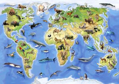 Wereldkaart Dieren Fotobehang 12844P8