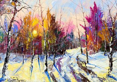 Schilderij Bos Sneeuw Fotobehang 11601P8