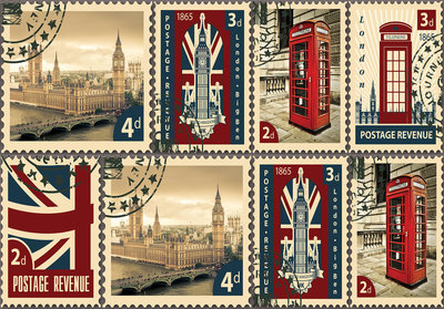 London Postzegels Fotobehang 10456P8