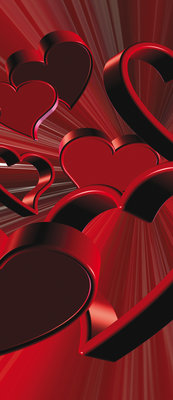 Red Hearts Art Abstract Deurposter Fotobehang 277VET