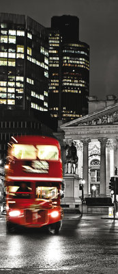 London and Red Double Decker Deurposter Fotobehang 196VET