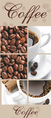 Coffee Beans and Cups Collage Deurposter Fotobehang 114VET