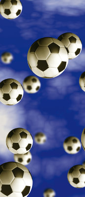Footballs on Blue Background Deurposter Fotobehang 187VET