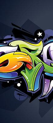 Colourful Graffiti on Navy Blue Deurposter Fotobehang 1509VET