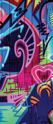 Colourful Abstract Graffiti Deurposter Fotobehang 1508VET