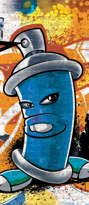 Blue Graffiti Spray Paint Can  Deurposter Fotobehang 1398VET