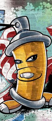 Yellow Graffiti Spray Paint Can Deurposter Fotobehang 1397VET