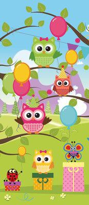 Owl Boys Girls Childrens Deurposter Fotobehang 1375VET