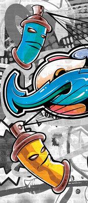 Colourful Graffiti on Gray Deurposter Fotobehang 2294VET