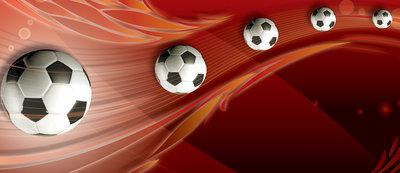 Footballs on Red Background Deurposter Fotobehang 3386VET