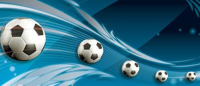 Footballs on Blue Background Deurposter Fotobehang 3385VET