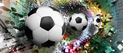 Footballs in 3D Puzzle Tunnel Deurposter Fotobehang 3381VET