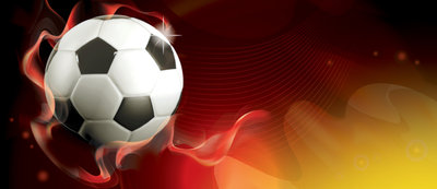 Football on Red Background Deurposter Fotobehang 3384VET