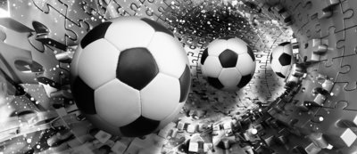 Footballs in 3D Puzzle Tunnel Deurposter Fotobehang 3382VET