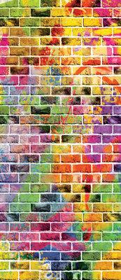 Graffiti - Colourful Bricks Deurposter Fotobehang 3469VET