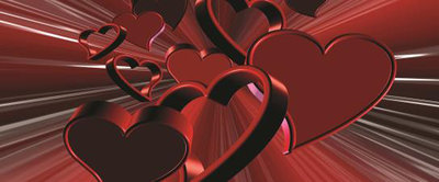 Red Hearts Art Abstract Panorama Fotobehang 277VEP