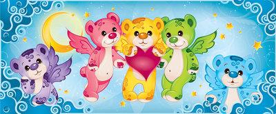 Rainbow Care Bear Bedroom Girls Panorama Fotobehang 507VEP