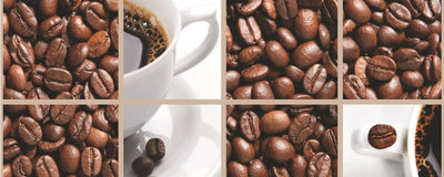 Coffee Beans and Cups Collage Panorama Fotobehang 114VEP