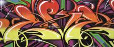 Colourful Graffiti Panorama Fotobehang 140VEP