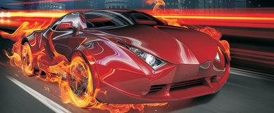 Red Car in Fire Panorama Fotobehang 132VEP