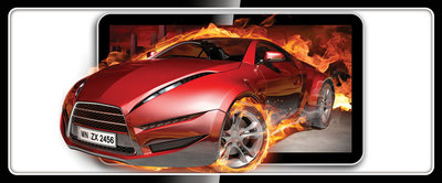 Red Car in Fire Panorama Fotobehang 294VEP