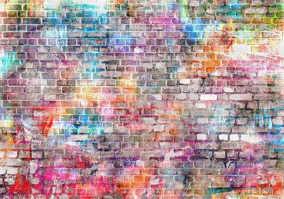 Kleurrijke Bakstenen Fotobehang 13041P8