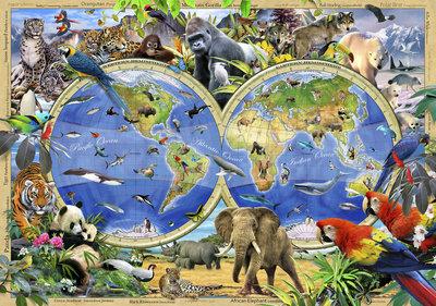 Wereldkaart Dieren Fotobehang 12842P8