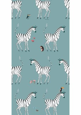 KEK Behang Zebra, petrol WP-127 (Met Gratis Lijm)