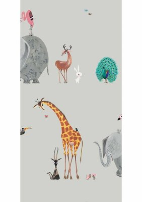 KEK Behang Animal mix, grey WP-133 (Met Gratis Lijm)