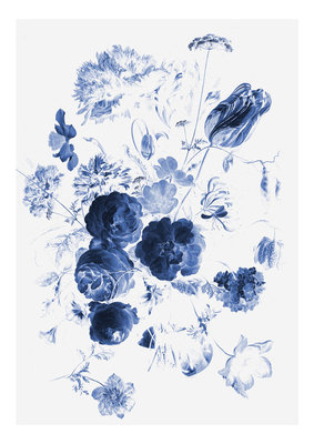 KEK Amsterdam Royal Blue Flowers I WP.207 (Met Gratis Lijm)