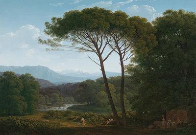 Rijksmuseum Italiaans Landschap met Pijnbomen Hendrik Voogd RM37 (Met Gratis Lijm)