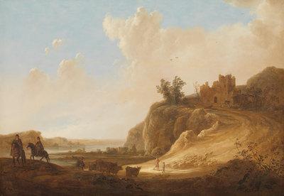 Rijksmuseum Bergachtig Landschap met kasteelruine RM53 (Met Gratis Lijm)