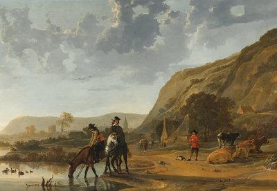 Rijksmuseum Rivierlandschap met Ruiters RM52 (Met Gratis Lijm)