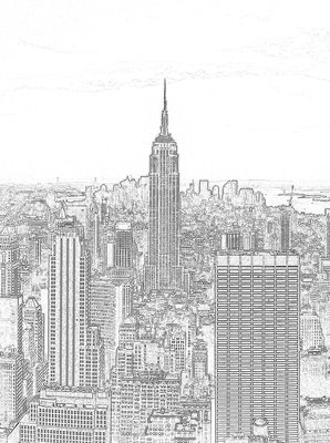 Black and White Sketch of City Fotobehang 10688VEA