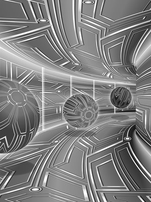 3D Gray Tunnel with Spheres Fotobehang 10079VEA