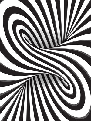 3D Black and White Swirl Fotobehang 10204VEA