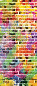 Graffiti - Colourful Bricks Deurposter Fotobehang 3469VET