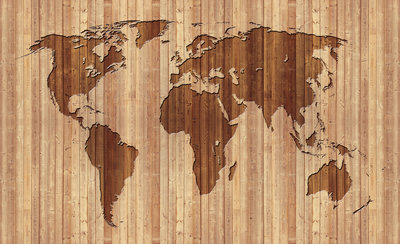 Wereldkaart Hout Fotobehang 2156P8