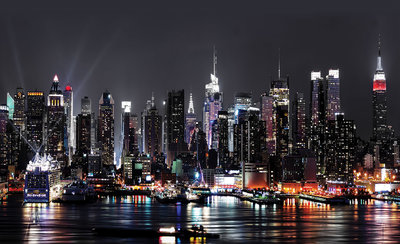 New York By Night Fotobehang 1309P8